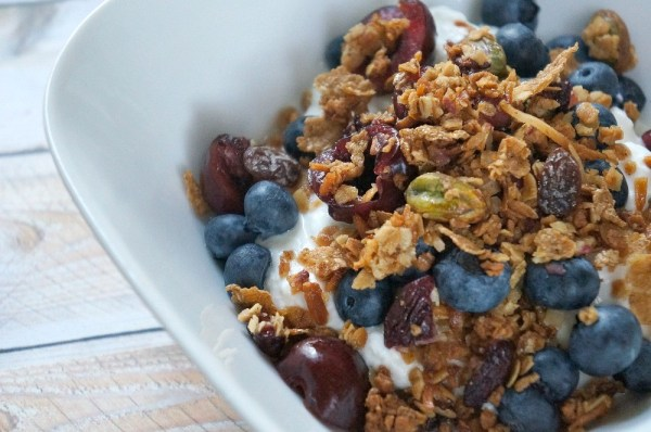 Homemade granola with fruit and yogurt