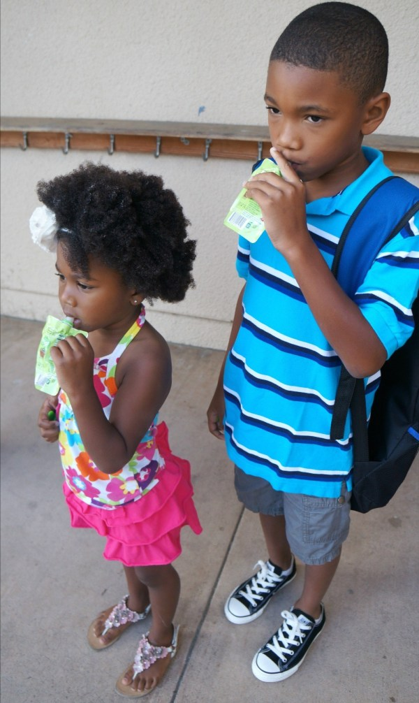 brother and sister ready for school