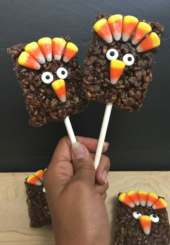 Gobble Gobble Rice Krispies Treats Turkey Pops