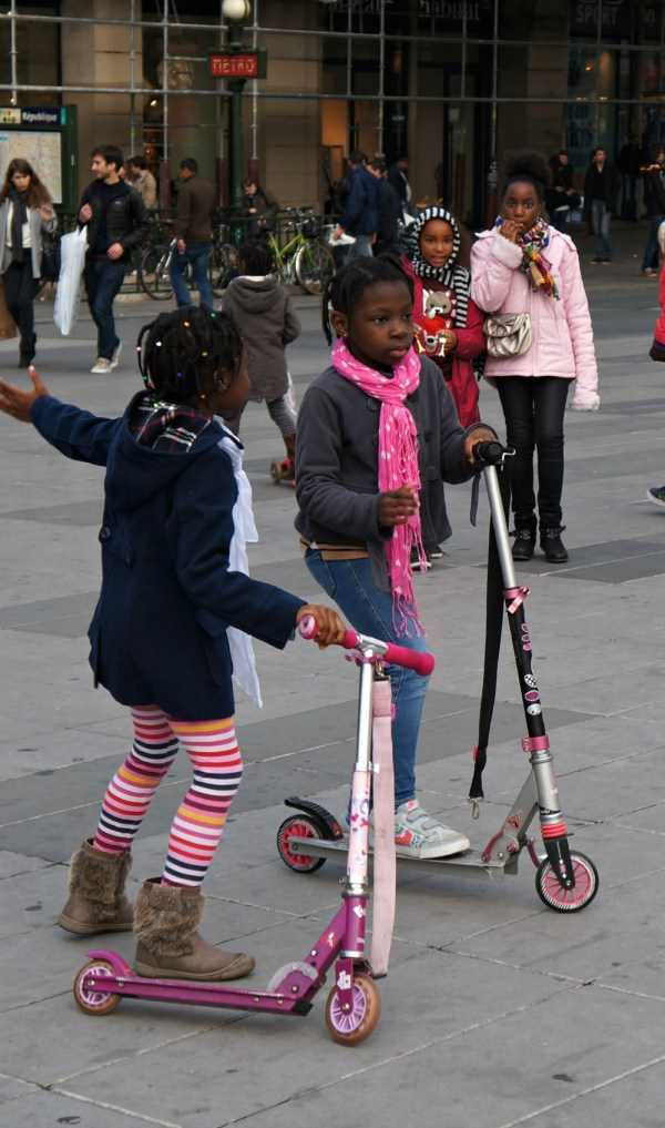 Young black Parisian kids playing in Paris, France