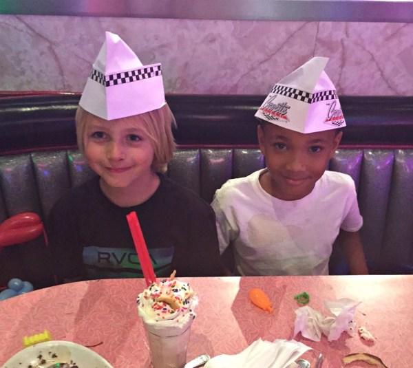 Corvette Diner family restaurant, kids get paper hats