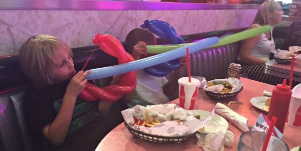 Corvette Diner family restaurant, they got balloon bow and arrows
