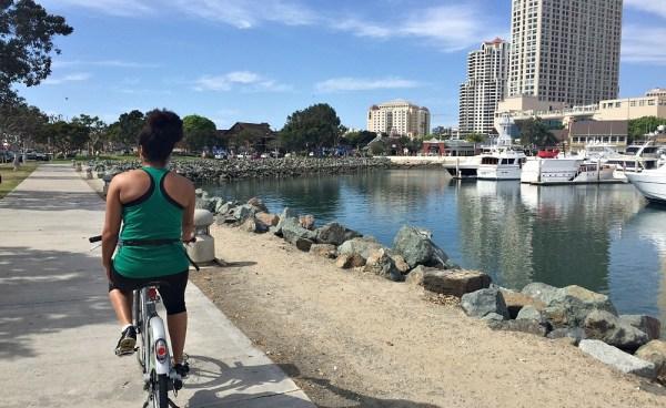 Riding Bikes at Seaport Village, San Diego, CA, April 2015
