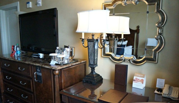 The Roosevelt Hotel, New Orleans, flat screen tv and desk inside the rooms