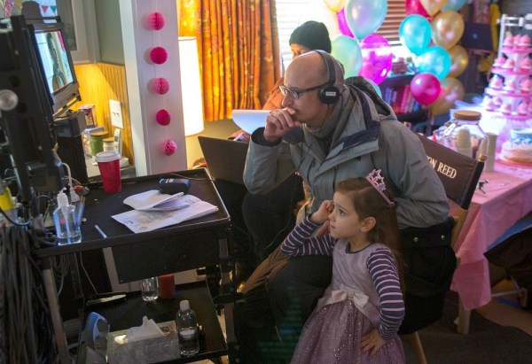 Marvel's Ant-Man L to R: Director Peyton Reed and actress Abby Ryder Fortson (Cassie) on set Photo Credit: Zade Rosenthal © Marvel 2014