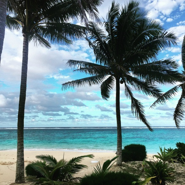 Rarotonga Cook islands trip, swaying palm trees and turquoise ocean water awaits