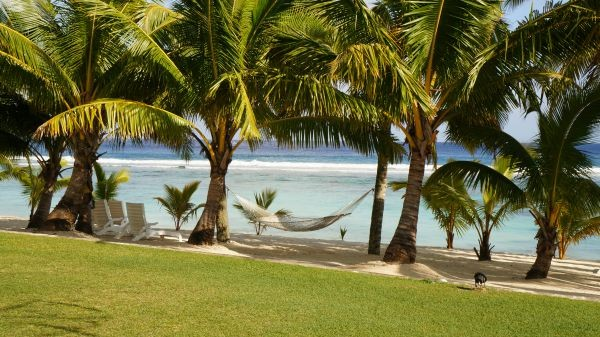 The Sunset Resort, swaying hammock in a peaceful paradise, Rarotonga, Cook Islands