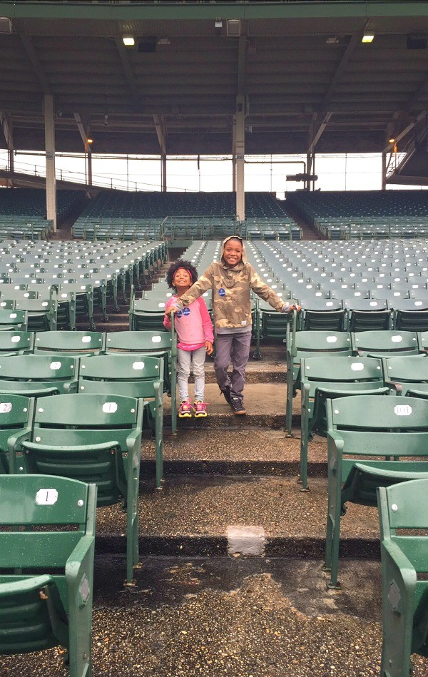 Kids in an empty Wrigley Field, Chicago Cubs Stadium