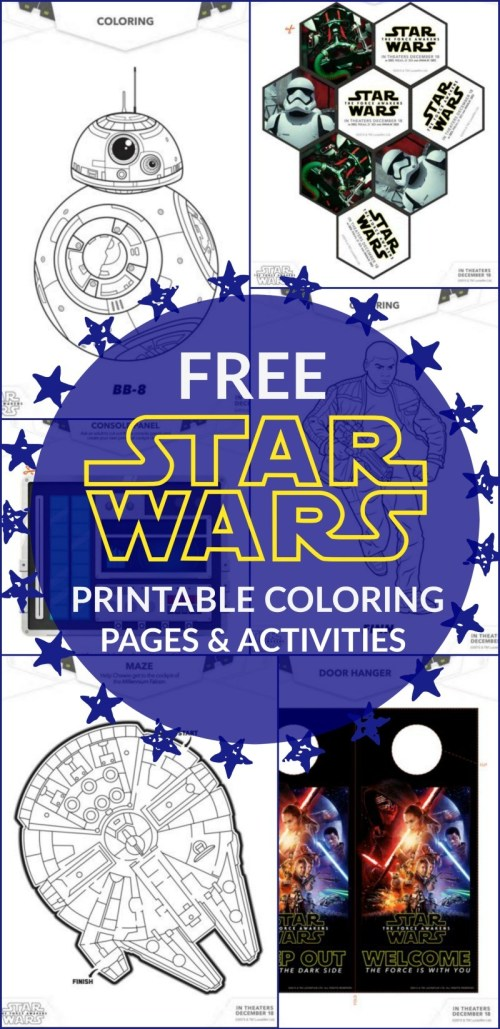 21 FREE STAR WARS Printable Coloring Pages and THE FORCE AWAKENS ACTIVITIES