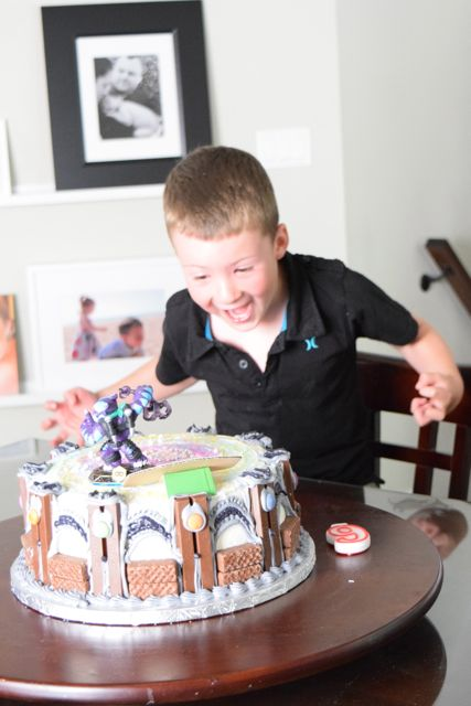 Just a wee bit excited when he saw his birthday cake.