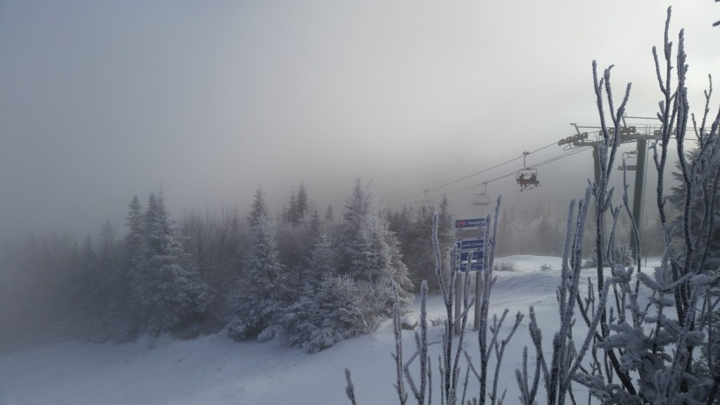 Snow-misted evergreens greet chair lift passengers. Untouched photo taken on my smartphone! This place is surreal, folks. You've gotta go.