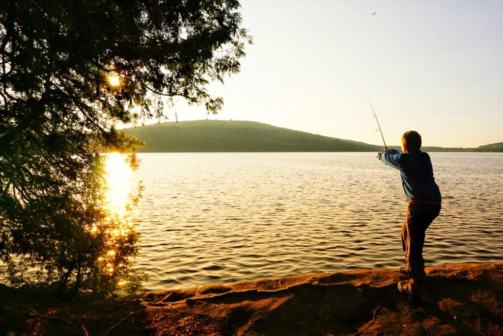 fishing in rock lake, ontario