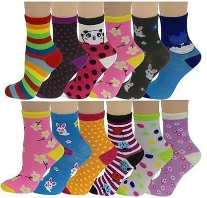 Different Touch 12 Pairs Girls Colorful Fun Novelty Design Crew Socks