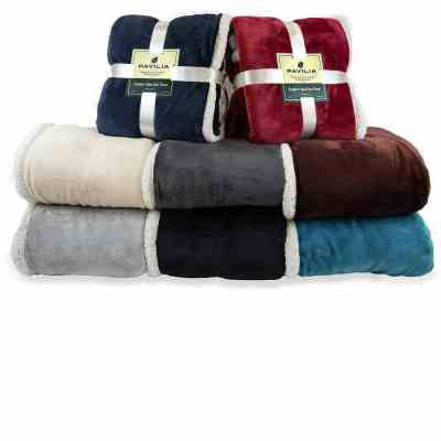 PAVILIA Premium Sherpa Throw Blanket