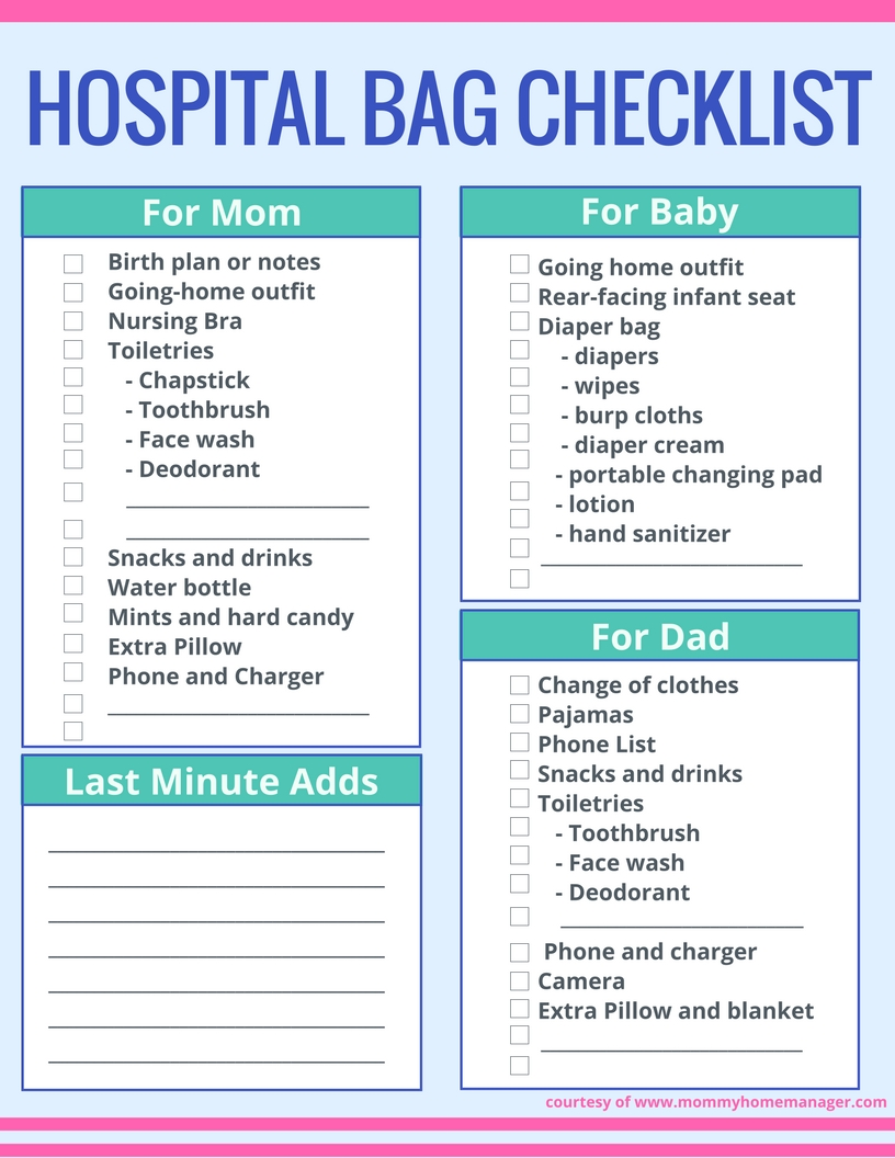image regarding Printable Hospital Bag Checklist for Labor and Delivery named How towards Pack Your Clinic Bag (Without having Overpacking) Mommy