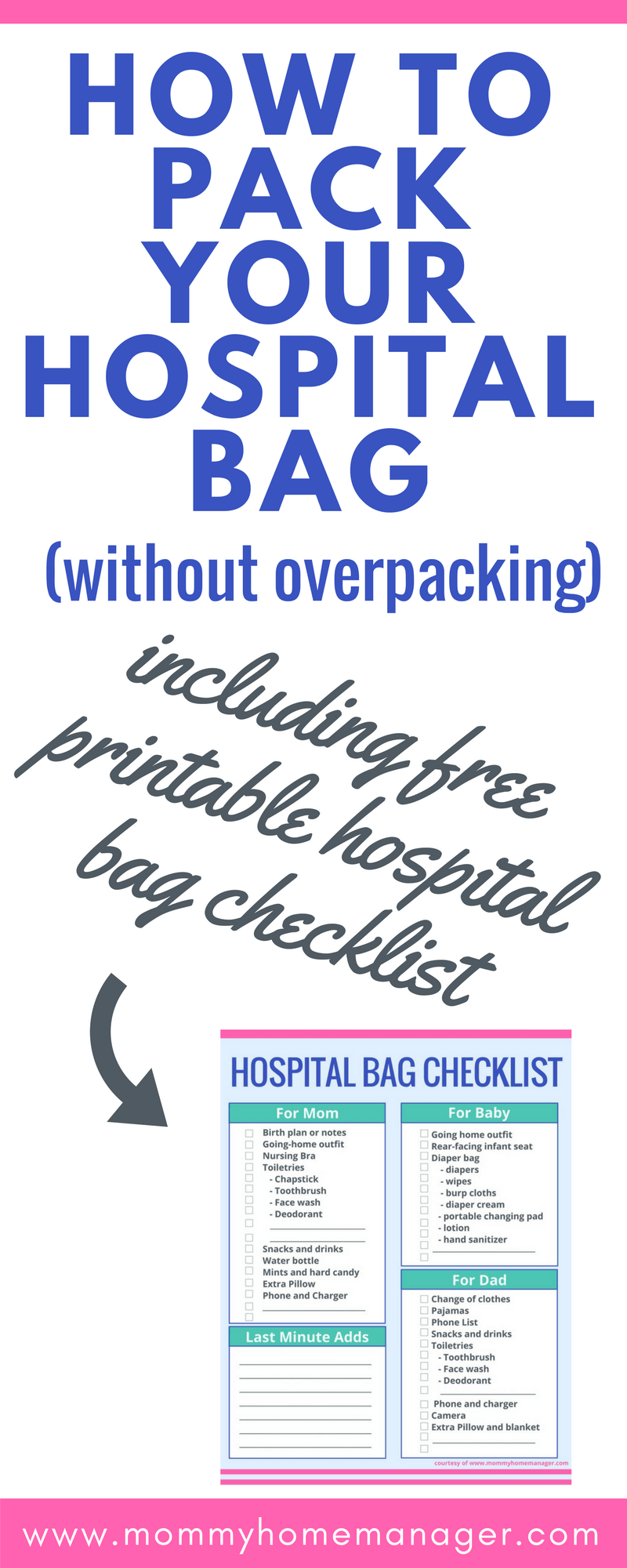 graphic relating to Printable Hospital Bag Checklist for Labor and Delivery named How toward Pack Your Medical center Bag (Without the need of Overpacking) Mommy