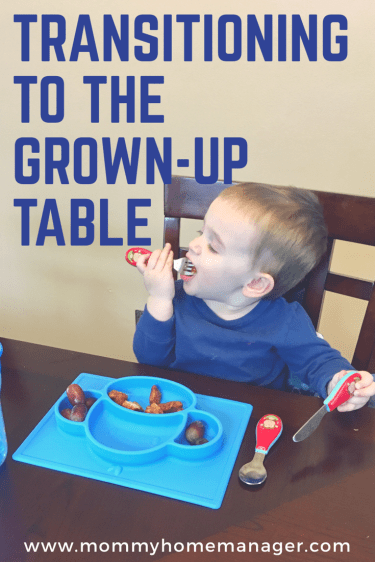 Check out these great products that made our transition to the grown-up table a breeze! #toddler #toddlermom #mom #parenting