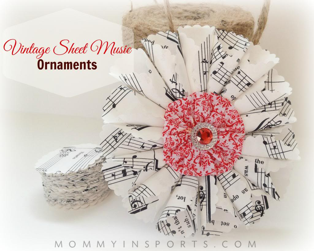 Vintage Sheet Music Ornaments Tutorial from Mommy in Sports