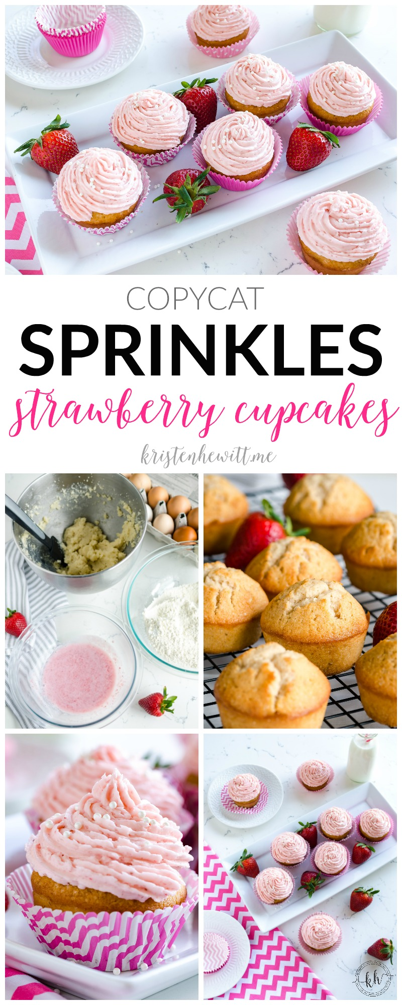 Looking for a decadent cupcake recipe using strawberries? Try this copycat recipe for Sprinkles Strawberry Cupcakes! The best cupcake you'll ever try!