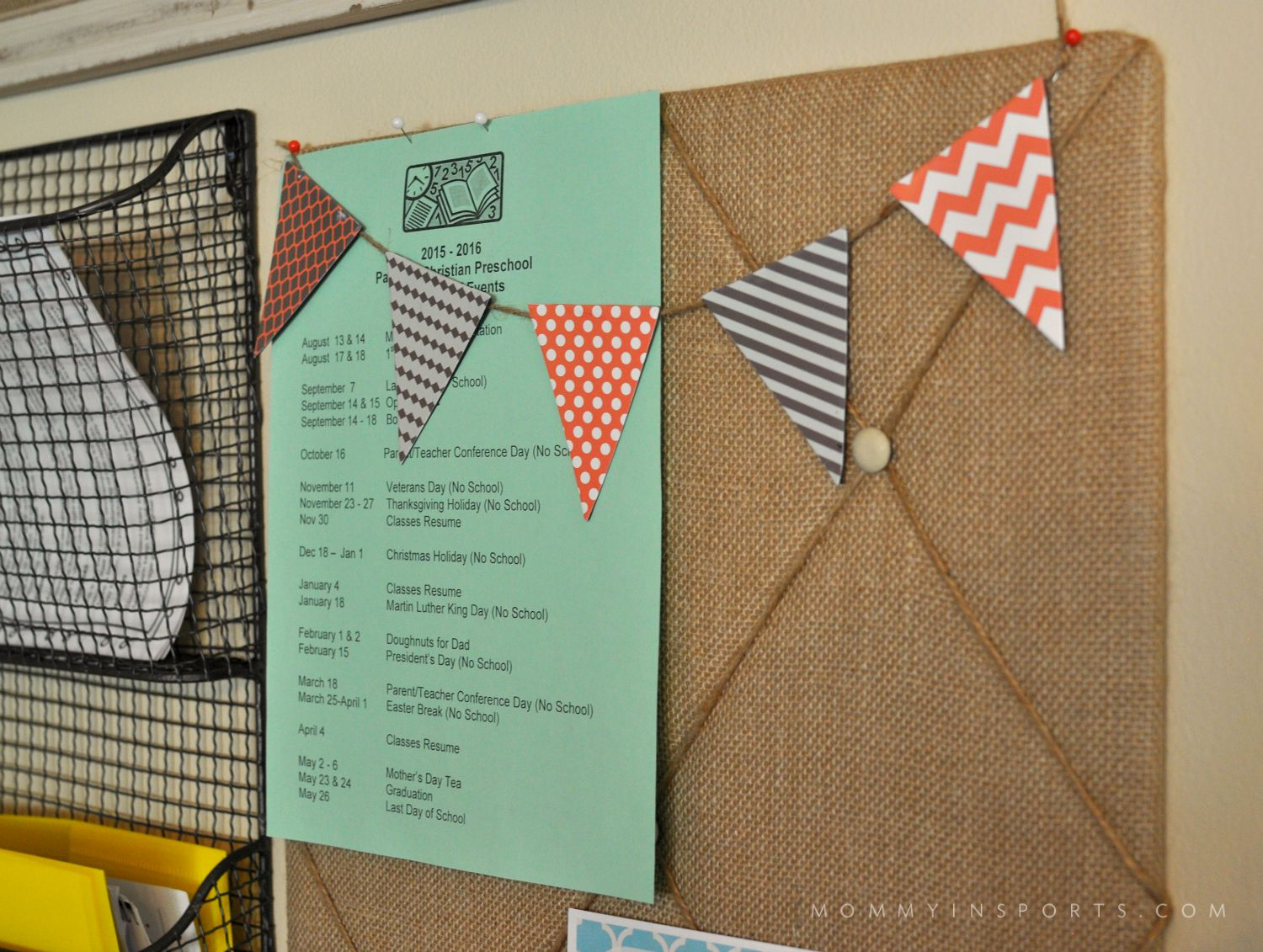 DIY HomeWall Organizer Bunting