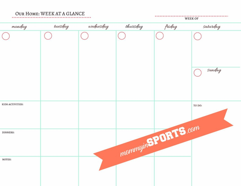 Weekly Printable Calendar Template white