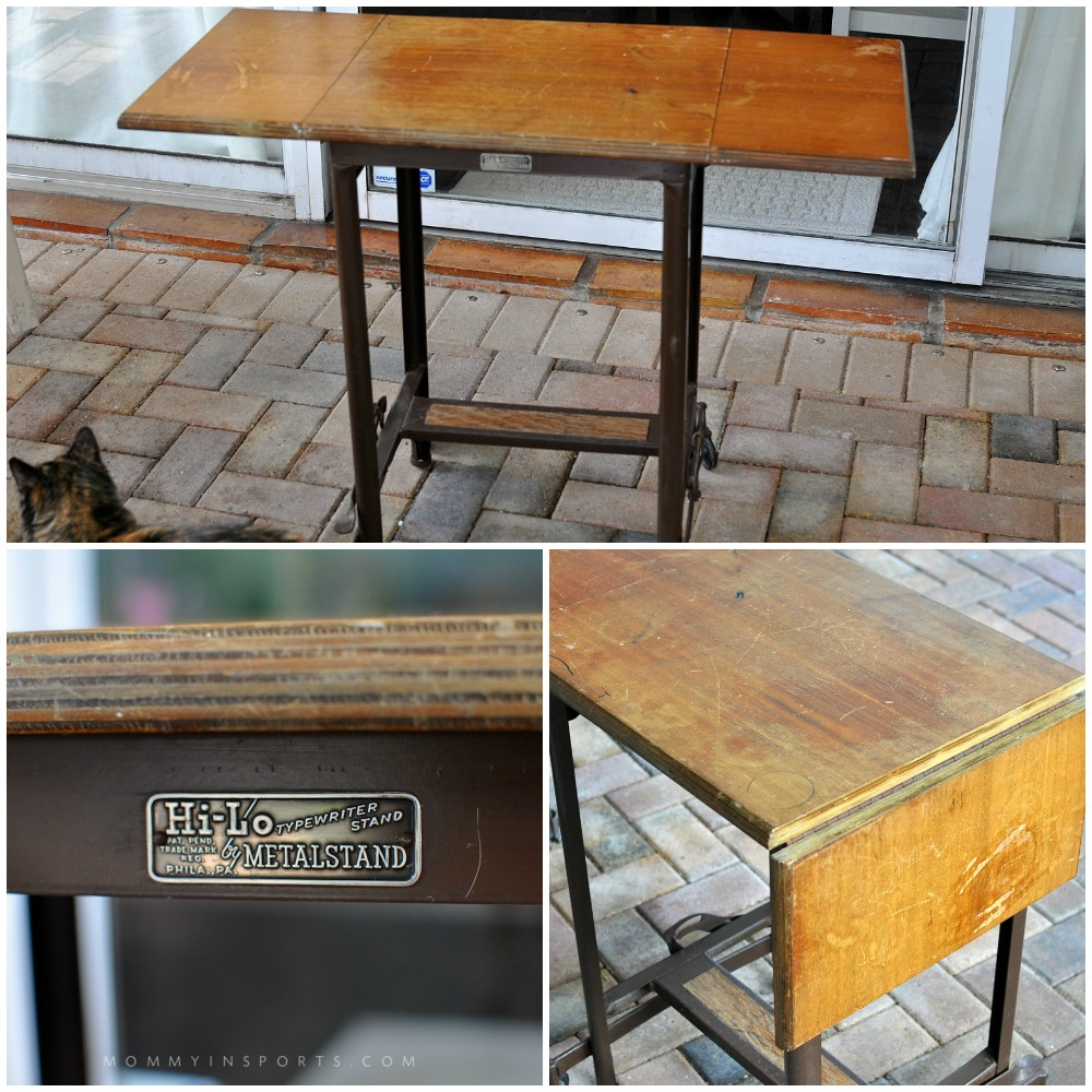 Upcycle a vintage typewriter table into a super cute kid's desk in an afternoon. Don't spend big bucks when you can make something old beautiful and new again! The perfect project, this DIY upcycled vintage typewriter table!