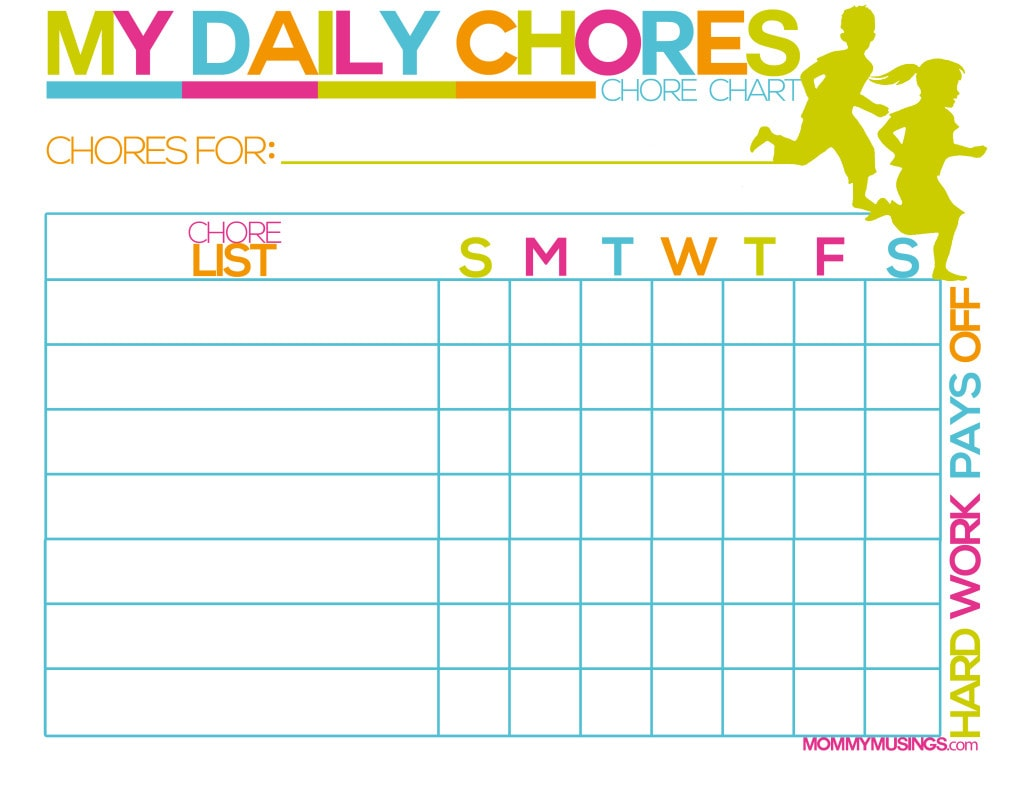 Free Printable Kids Chore Amp Rewards Chart