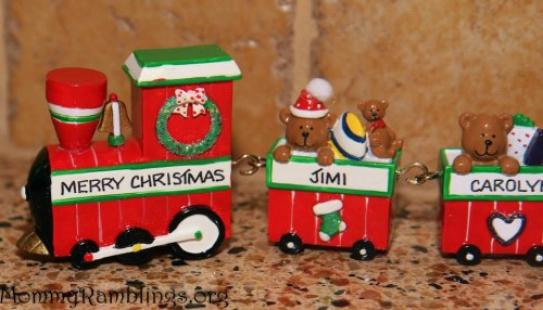 Oranments With Love Train Merry Christmas