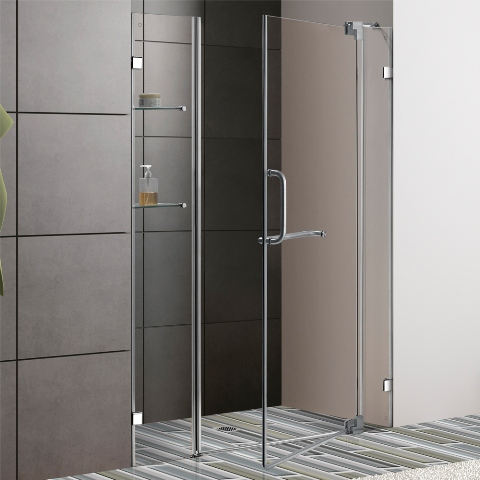 Outward Opening Frameless Shower Door #curbappeal