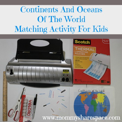 Continents And Oceans Of The World Matching Activity For Kids