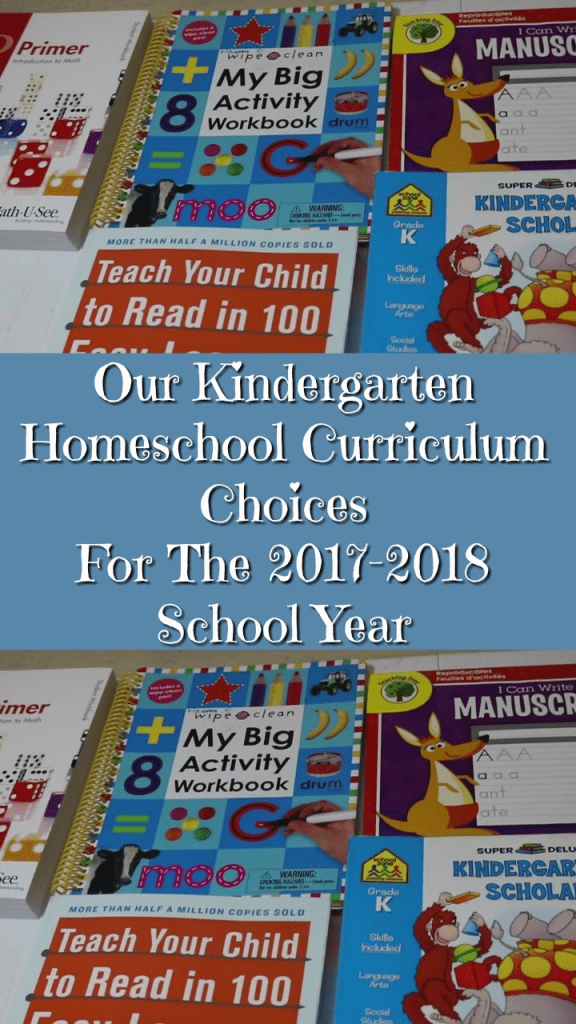 Our Kindergarten Homeschool Curriculum Choices For The 2017-2018 School Year