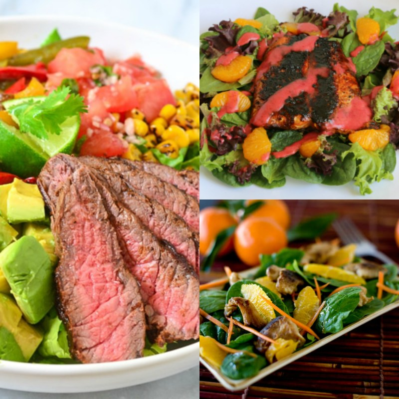 Beautiful Salads for Meat & Seafood lovers that will make them want to give up those carb loaded sides forever! #MeatLover #Protien #HighProtienDiet #FeedMe