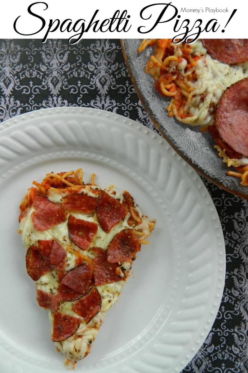 Stop letting spaghetti go bad in your fridge! Make Spaghetti Pizza from leftovers! Pepperoni Spaghetti Pizza