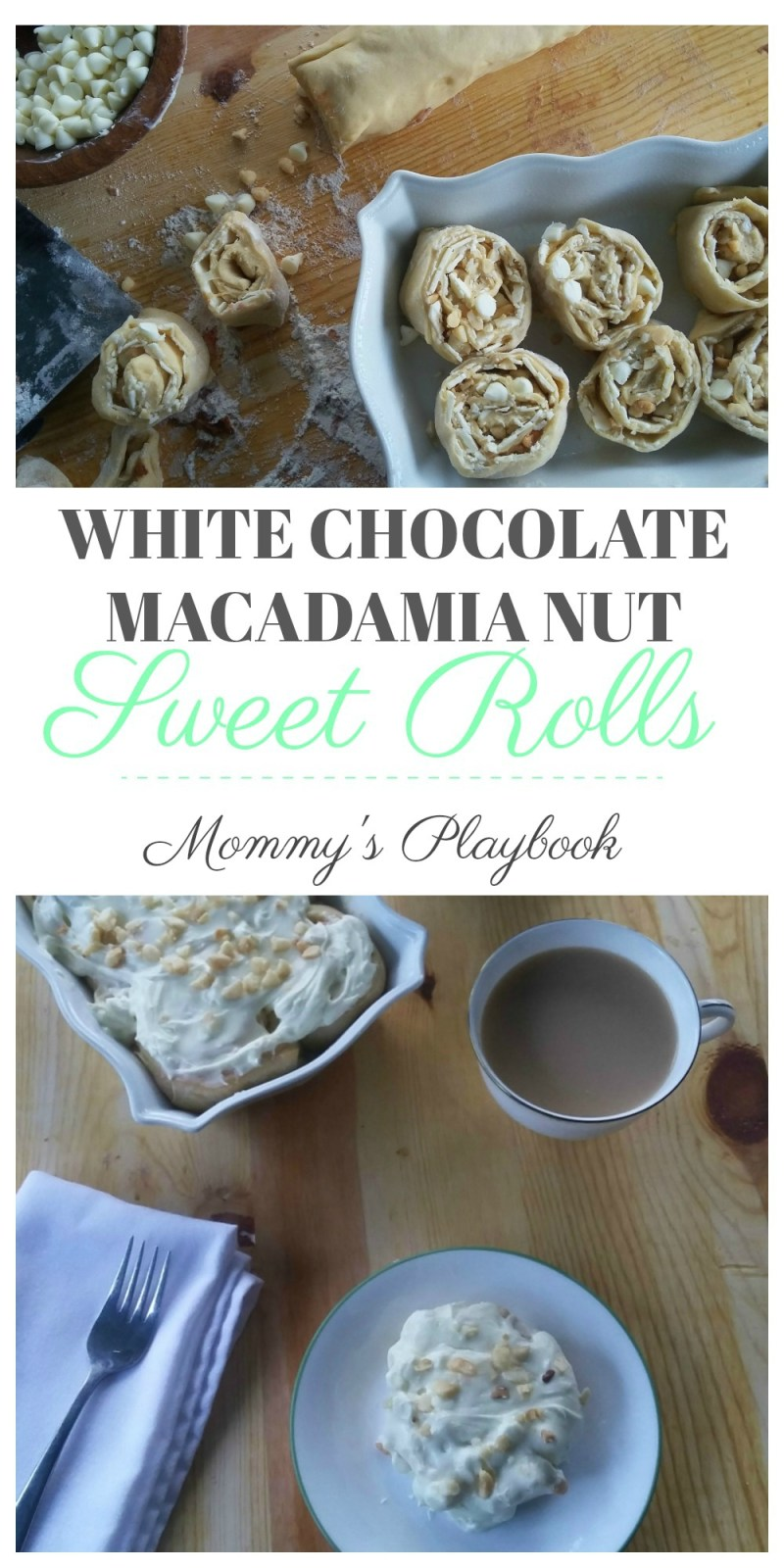 White Chocolate Macadamia Nut Sweet Roll Recipe #SweetRoll #MacadamiaNut #CookieSwap