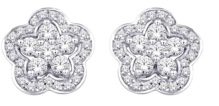 10K White Gold 1/3 Ct.Tw. Diamond Flower Stud Earrings