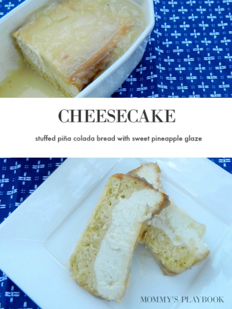 Cheesecake Stuffed Pina Colada Quick Bread Recipe; easy recipes to upgrade your sweet breads in the morning