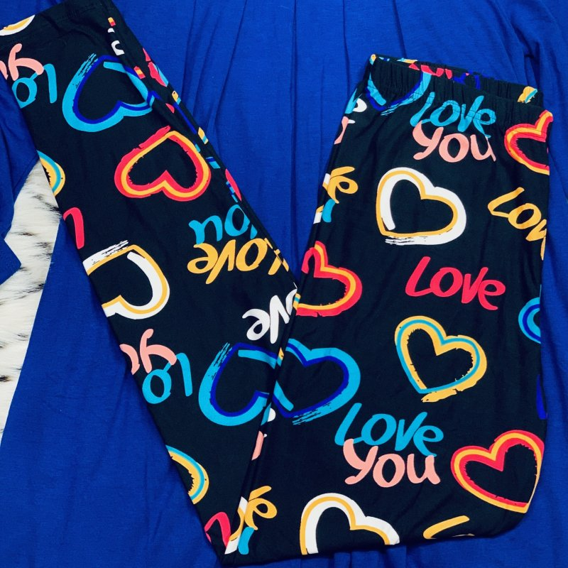 "Neon ""Love You"" Hearts Leggings from Dream Leggings"