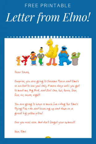 Free printable letter from Elmo for you trip to Sesame Place