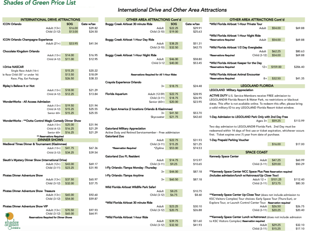 Shades of Green ITT prices for Orlando attractions