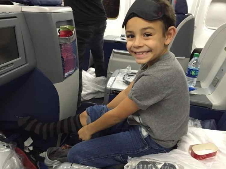 flying business class with children on Delta