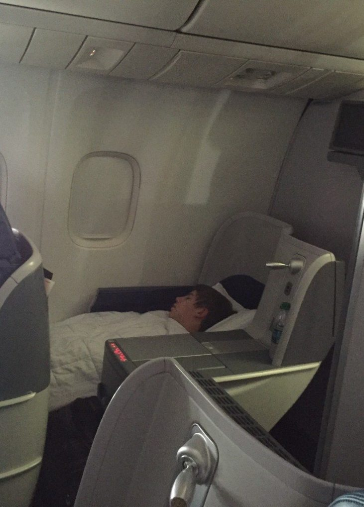 flying overseas with children in Delta Business class
