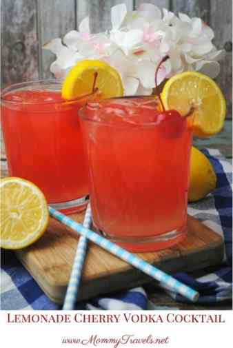 Lemonade Cherry Vodka Cocktail is a great choice for a refreshing drink for a weekend barbecue! Enjoy this with your friends and family this summer!
