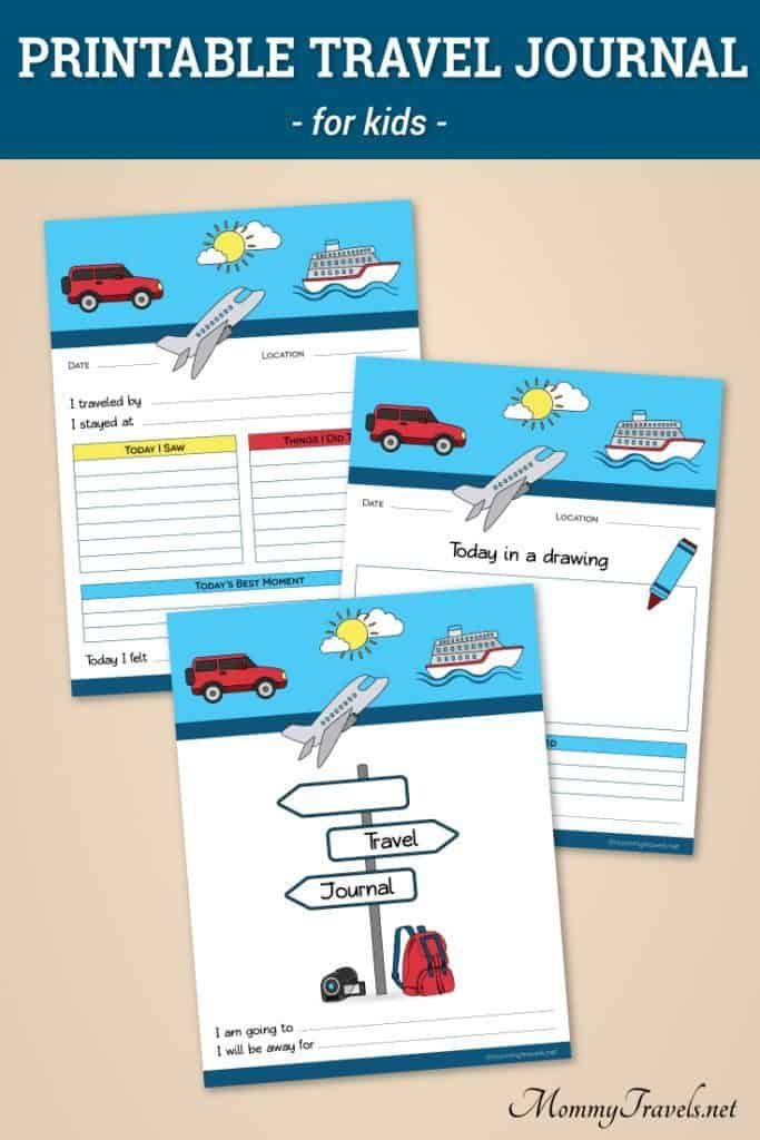 A printable travel journal for kids to use during a trip