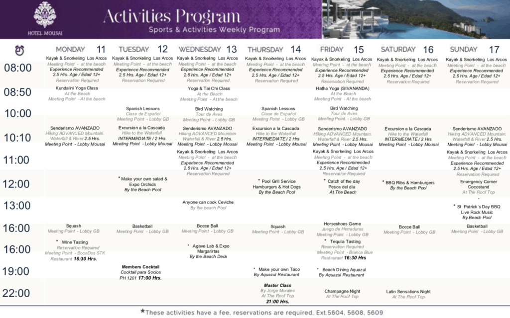 Hotel Mousai weekly activities