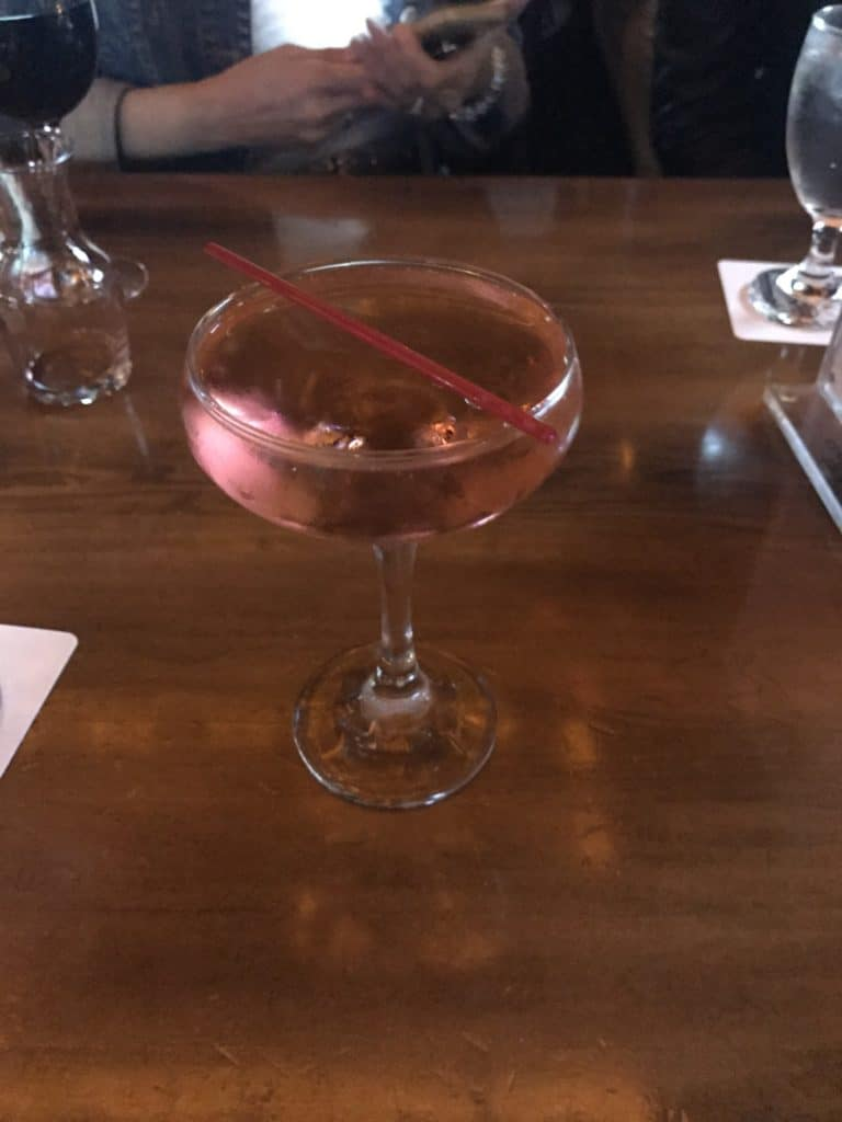 Pomegranate champagne cocktail at Crompton Ale House in NYC