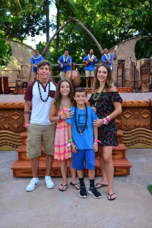 Family photo at the Aulani luau