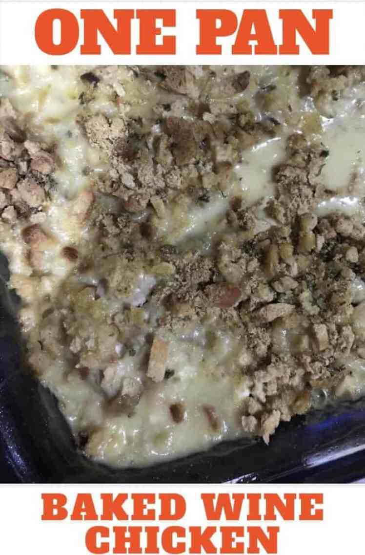 Baked wine chicken an easy chicken recipe with stuffing, Swiss cheese and wine.