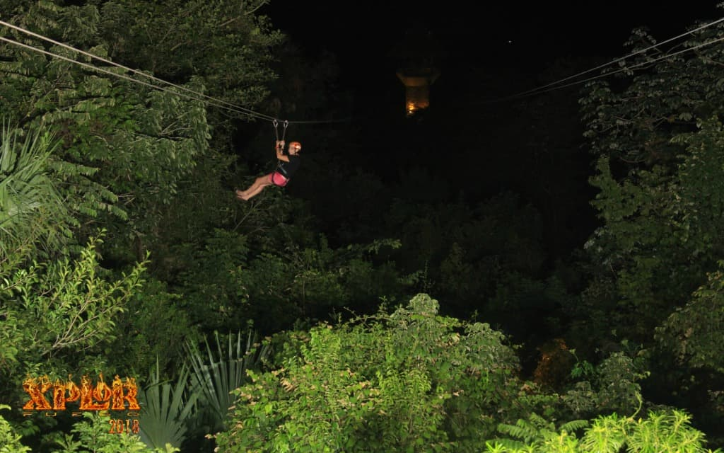 Zip lining at Xplor Fuego