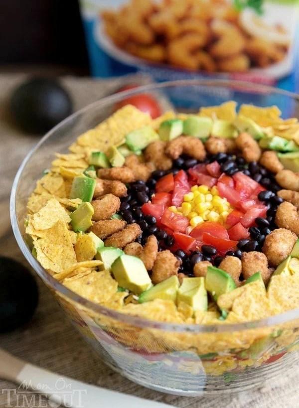 Shrimp Goes Southwest! {5 Marvelous Ways to Spice Up My Favorite Food} Popcorn Shrimp Taco Salad | bumblebits.co