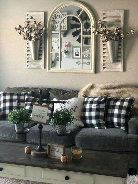 18+ DIY Farmhouse Living Room Decor Ideas | momooze on Curtains For Farmhouse Living Room  id=59082